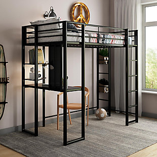 Atwater Living Alix Twin Metal Loft Bed with Desk, Black, Black, rollover