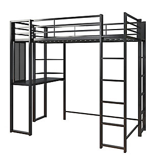 Atwater Living Alix Twin Metal Loft Bed with Desk, Black, Black, large