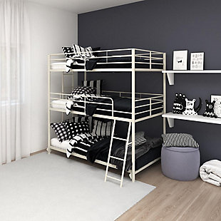Atwater Living Callum Metal Triple Bunk Bed, Twin over Twin over Twin, White, White, rollover