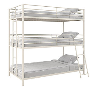 Atwater Living Callum Metal Triple Bunk Bed, Twin over Twin over Twin, White, White, large