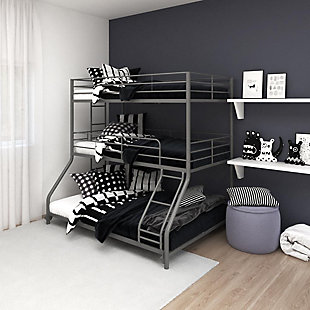 Atwater Living Callum Metal Triple Bunk Bed, Twin over Twin over Full, Silver, Silver, rollover