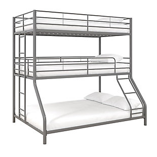 Atwater Living Callum Metal Triple Bunk Bed, Twin over Twin over Full, Silver, Silver, large