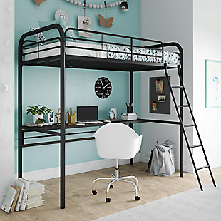 Atwater Living Ajax Metal Twin Loft Bed with Desk, Black, Black, large
