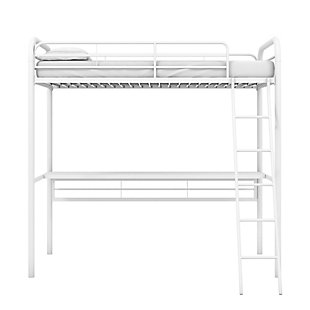 Atwater Living Ajax Metal Twin Loft Bed with Desk, White, White, large