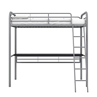 Atwater Living Ajax Metal Twin Loft Bed with Desk, Gray, Gray, large