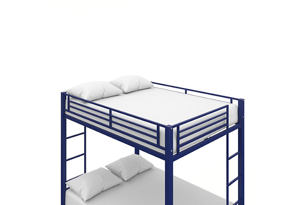 Atwater Living Parker Full over Full Metal Bunk Bed, Blue, Blue, large