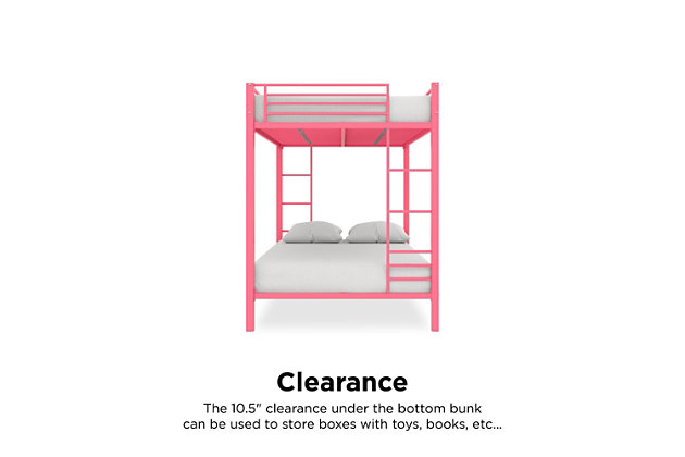 Atwater Living Parker Full over Full Metal Bunk Bed, Pink, Pink, large