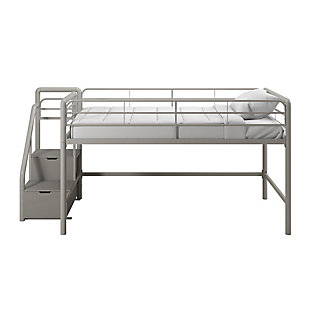 Atwater Living Kaden Junior Twin Loft bed with Storage Steps, Gray, , large