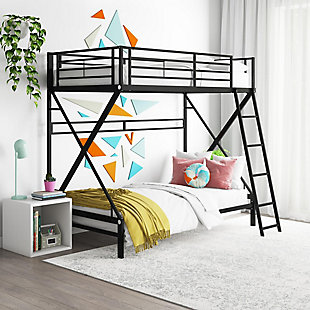 Atwater Living Nomy Twin Over Twin Metal Bunk Bed, Black, , rollover