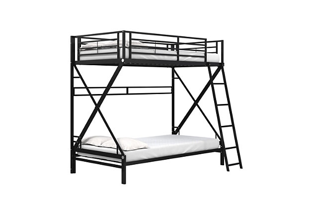 Atwater Living Nomy Twin Over Twin Metal Bunk Bed, Black, , large