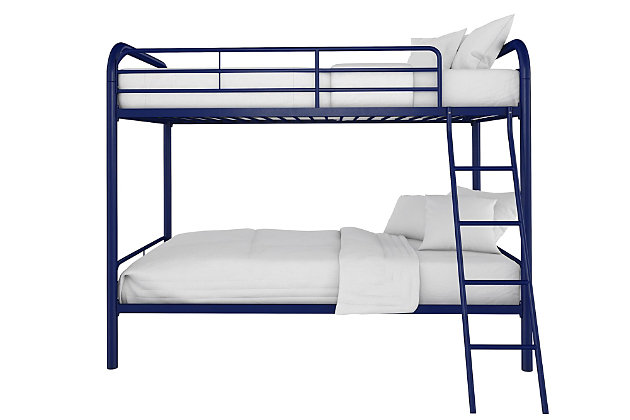 Atwater Living Eeva Twin over Twin Metal Bunk Bed, Blue, Navy, large