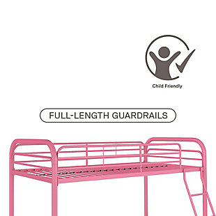 Atwater Living Eeva Twin over Twin Metal Bunk Bed, Pink, Pink, large