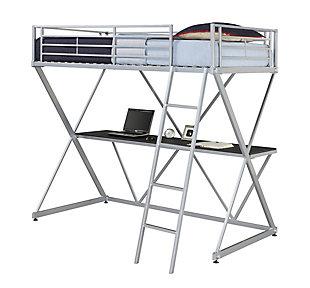 Atwater Living Danton X-Loft Metal Bunk Bed, Silver, Silver, large