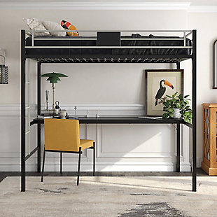 Atwater Living Metal Loft Bunk Bed, Black/Silver, , rollover