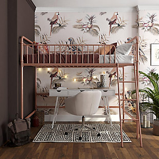 Atwater Living Kalvin Twin Metal Loft Bed, Rose Gold, Rose, rollover