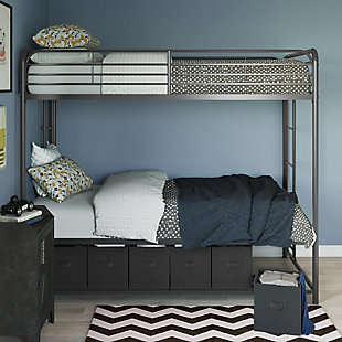 Atwater Living Bethia Twin over Twin Bunk Bed with Storage Bins, Black, Black, rollover