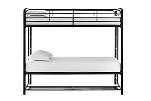 Atwater Living Bethia Twin over Twin Bunk Bed with Storage Bins, Black, Black, large