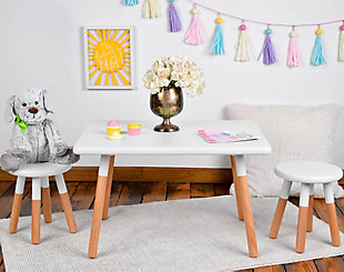 Ace Casual Kids Dipped Table and Stool Set, White, White/Beige, rollover