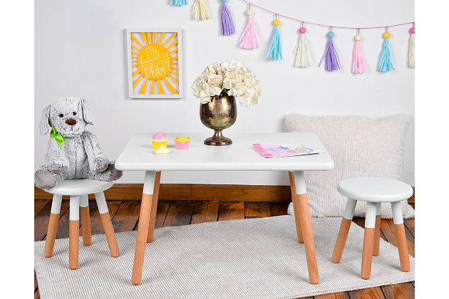 Ace Casual Kids Dipped Table and Stool Set, White, White/Beige, large