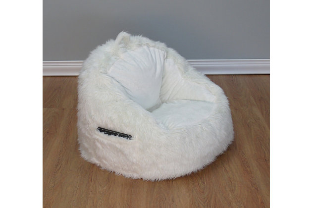 Ace Casual Fur Tablet Pocket Chair, Cream, White, large