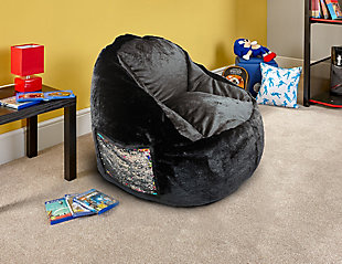 ACEssentials  Faux Fur Bean Bag Chair with Tablet Pocket in Mermaid Sequins, , rollover