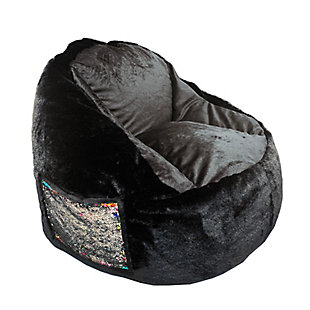 ACEssentials  Faux Fur Bean Bag Chair with Tablet Pocket in Mermaid Sequins, , large