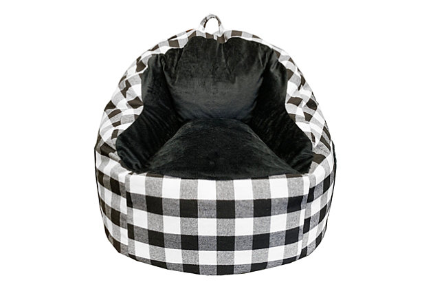 ACEssentials Faux Fur Bean Bag Chair with Tablet Pocket in Buffalo Print, Black/White, , large