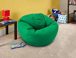 ACEssentials Large Micro Suede Bean Bag Chair, Kelly Green, Green, rollover
