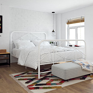 Francis  Francis Queen Farmhouse Metal Bed, White, rollover