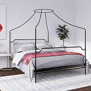 Camilla  Camilla Queen Metal Canopy Bed, Black, rollover