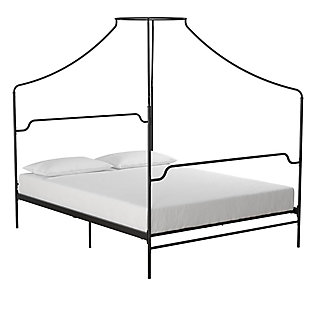 Camilla  Camilla Queen Metal Canopy Bed, Black, large