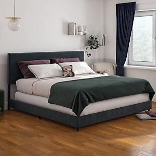 Z by Taylor King Upholstered Bed, Blue, rollover