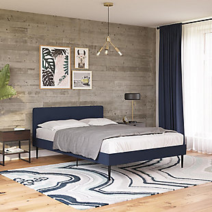 Freddy Queen Upholstered Bed, Blue, rollover