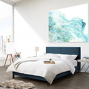 CorLiving Queen Upholstered Panel Bed, Blue, rollover