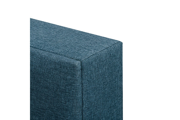 CorLiving Queen Upholstered Panel Bed, Blue, large