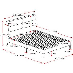 CorLiving Queen Upholstered Panel Bed, Brown/Beige, large