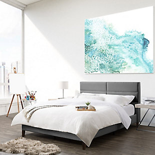 CorLiving Queen Upholstered Panel Bed, Light Gray, rollover