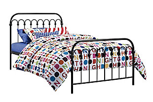 Dorel Home Products Bright Pop Twin Metal Bed, Black, large