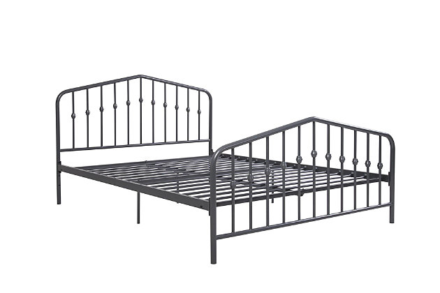 Dorel Home Products Bushwick Full Metal Bed Gunmetal Gray, Dark Gray, large