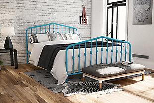 Dorel Home Products Bushwick Metal Bed Adj. Height Full Bed Frame Sea Blue, Blue, rollover