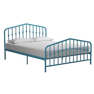 Dorel Home Products Bushwick Metal Bed Adj. Height Full Bed Frame Sea Blue, Blue, large