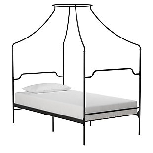 Dorel Home Products Camilla Metal Canopy Bed, Black, large