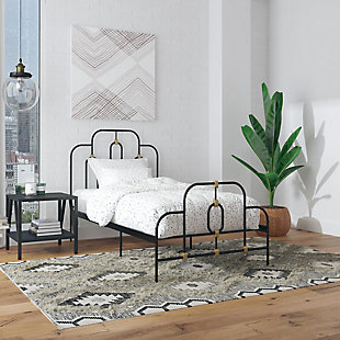 Dorel Home Products Boutique Olivia Metal Bed, Black/Gold, rollover