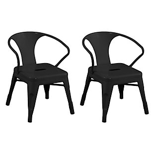 ACEssentials Harper and Hudson Kids Metal Activity Chair, 2 Pack, Black, large