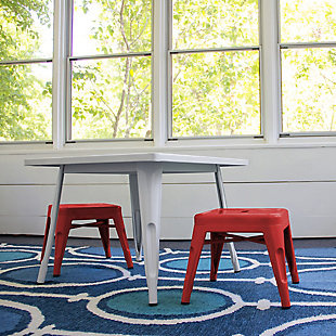 ACEssentials Harper and Hudson Kids Metal Stool, 2 Pack, Red, rollover