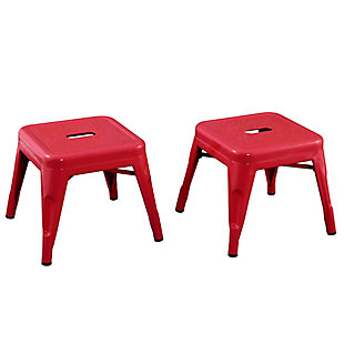 ACEssentials Harper and Hudson Kids Metal Stool, 2 Pack, Red, large