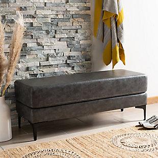 Elise Rectangular Bench, Gray/Black, rollover
