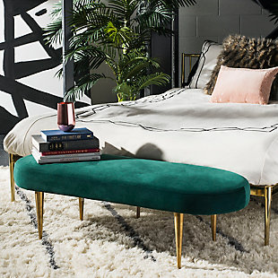 Corinne Velvet Oval Bench, Emerald, rollover