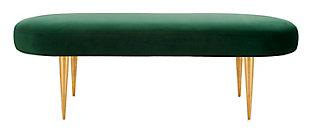 Corinne Velvet Oval Bench, Emerald, large
