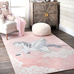 nuLOOM Emmie Flying Unicorn Nursery Rug, Pink, rollover